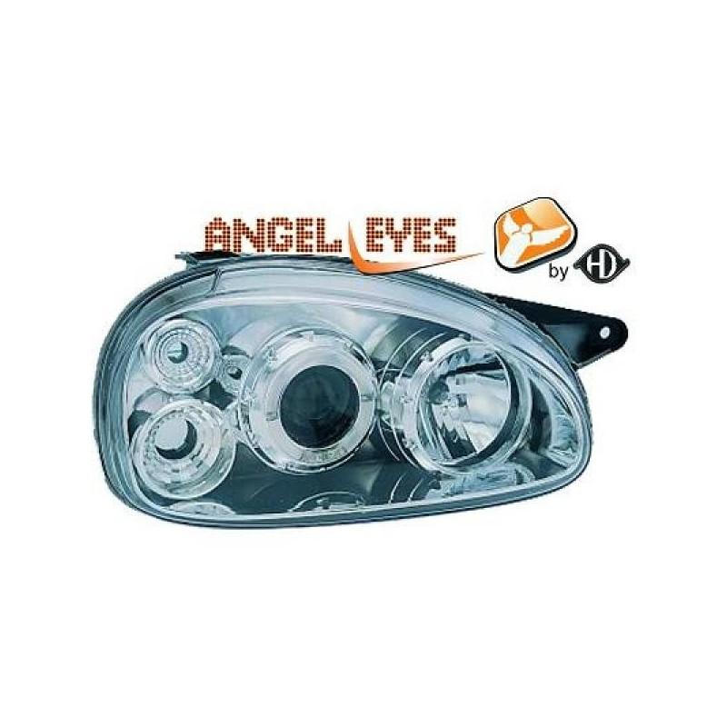 Phares angel eyes chrome anneau Opel CORSA 93-00