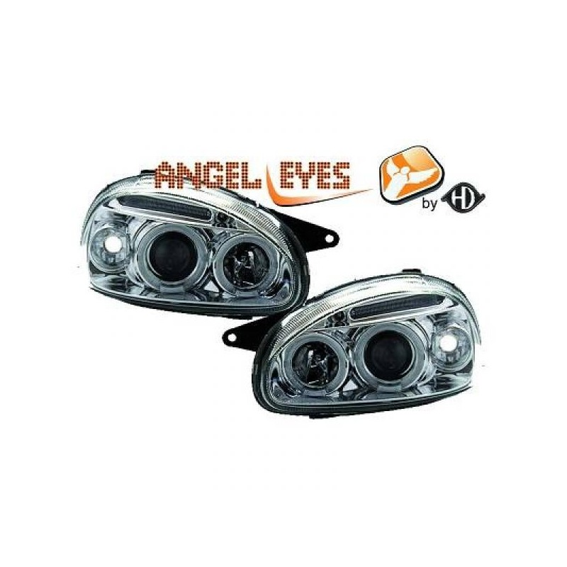 Phares angel eyes chrome . Opel CORSA 93-00