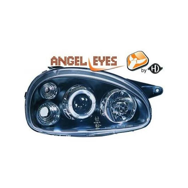 Phares angel eyes noir anneau Opel CORSA 93-00