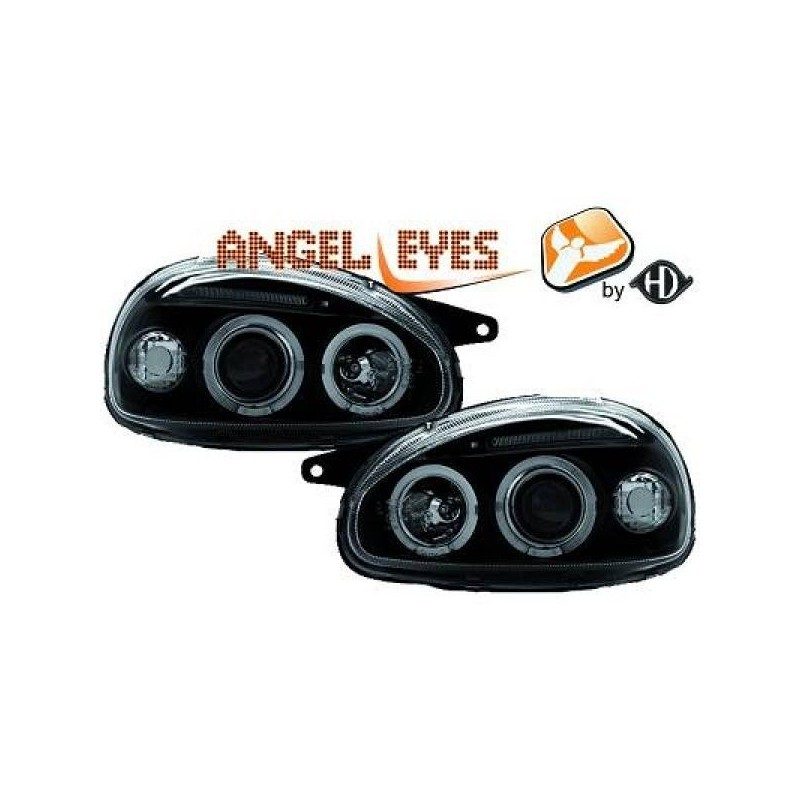 Phares angel eyes noir . Opel CORSA 93-00