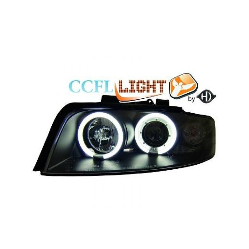 Phares angel eyes CCFL cristal/noir Audi A4 01-04