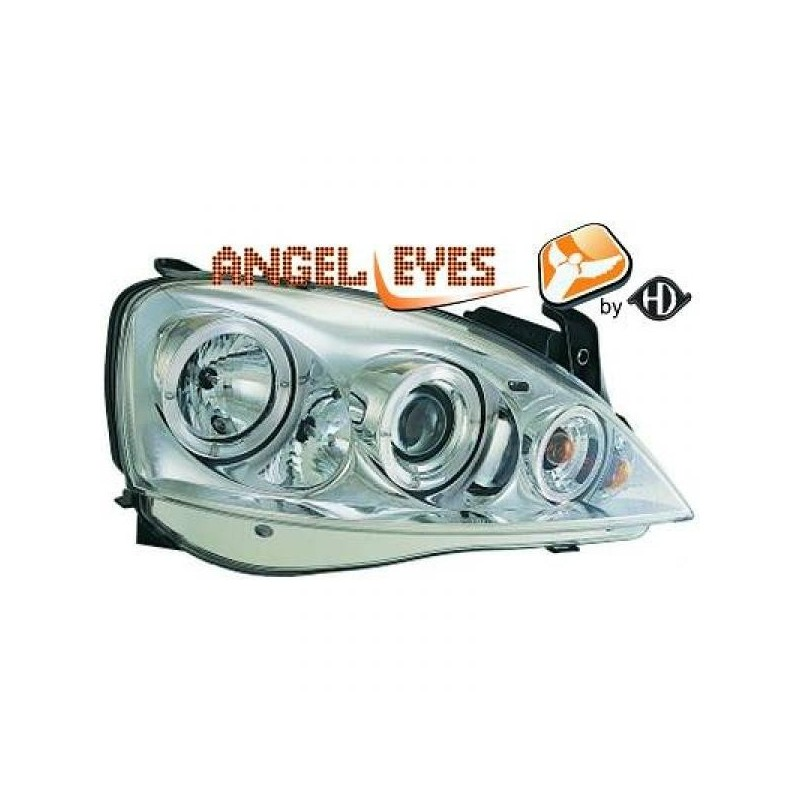 Phares angel eyes chrome Opel CORSA 00-06
