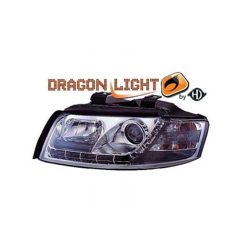 Phares Avant DEVIL EYES chrome Audi A4 00-04