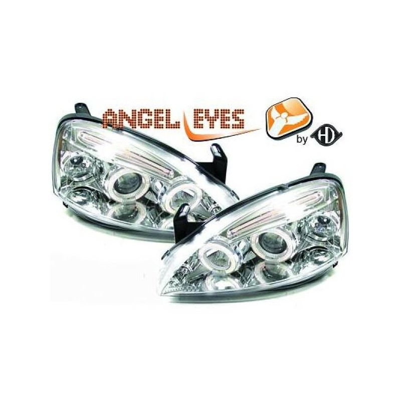 Phares Angel Eyes New Style chrome Opel CORSA C 00-06