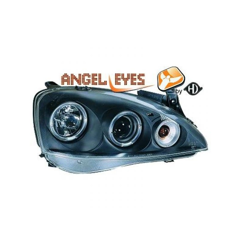 Phares angel eyes noir Opel CORSA 00-06