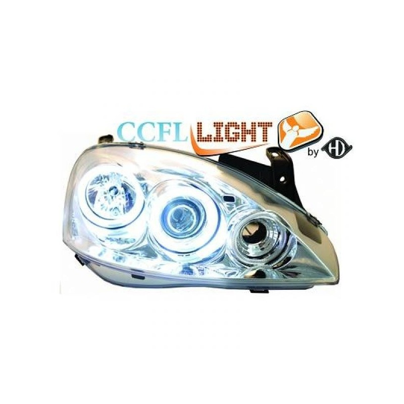 Phares angel eyes CCFL Opel CORSA 00-06 cristal chrome