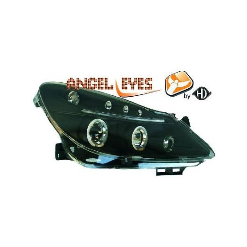 Phares angel eyes noir Opel CORSA D apres 2006