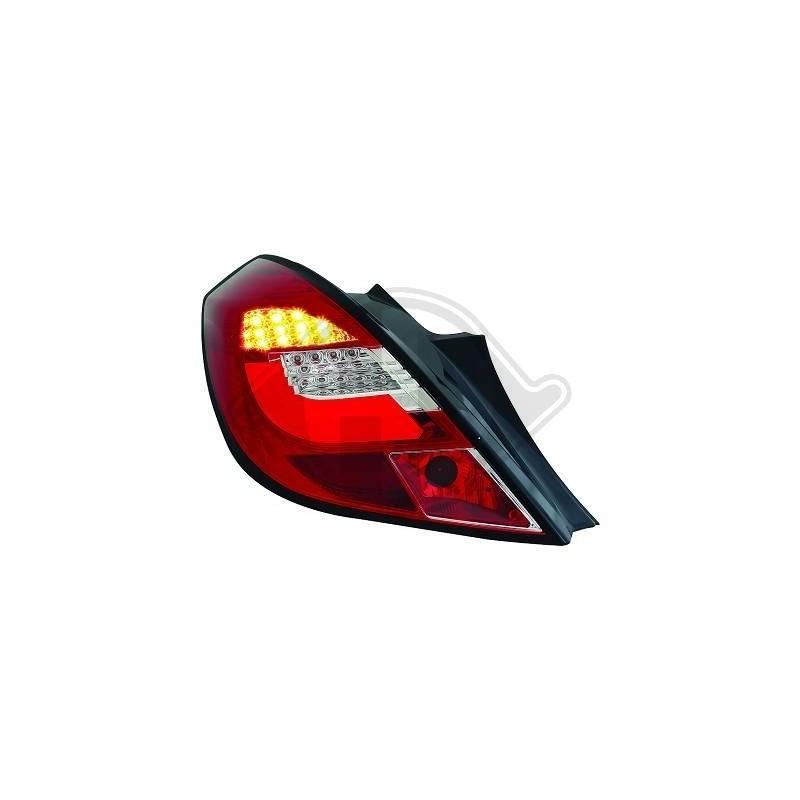 Feux arrière LED Opel CORSA D apres 2006 3 portes cristal/rouge-chrome