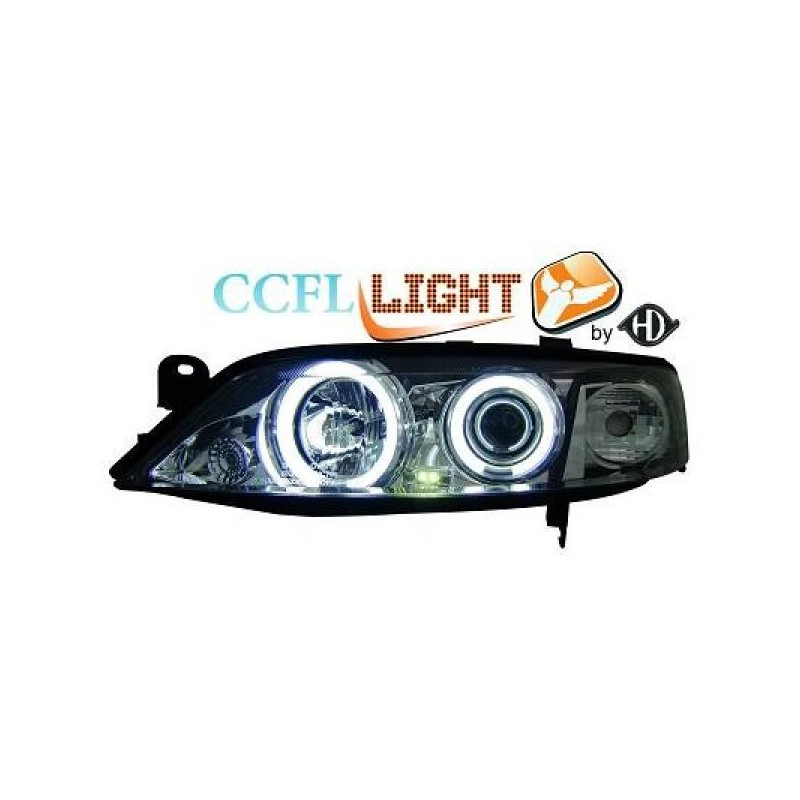 Phares angel eyes CCFL chrome Opel VECTRA 96-98