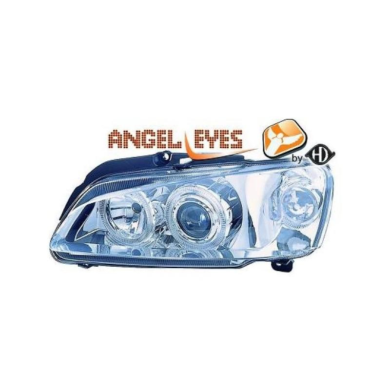 Phares angel eyes chrome Peugeot 106 apres 1996