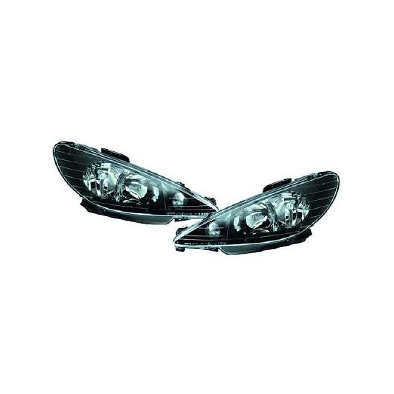 Phares angel eyes Peugeot 206 98-06 noir