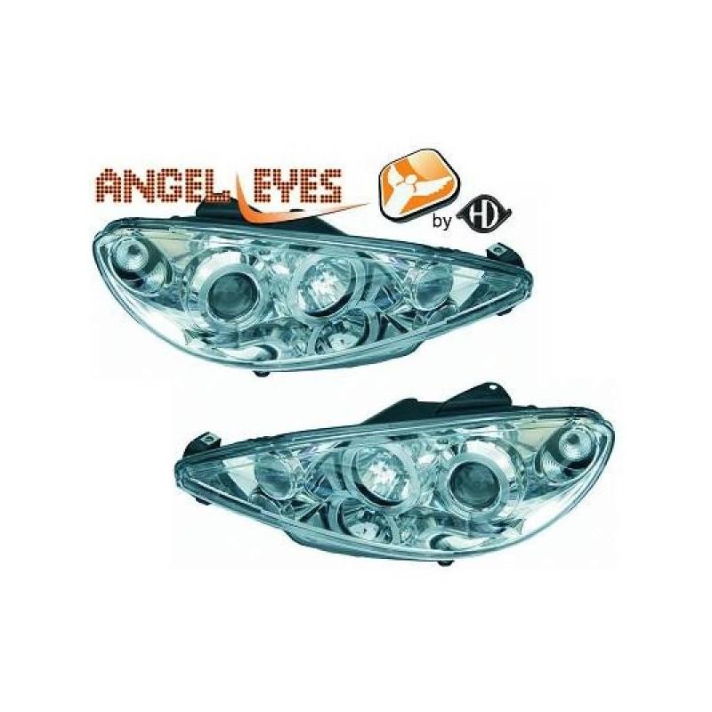Phares angel eyes chrome Peugeot 206 98-06