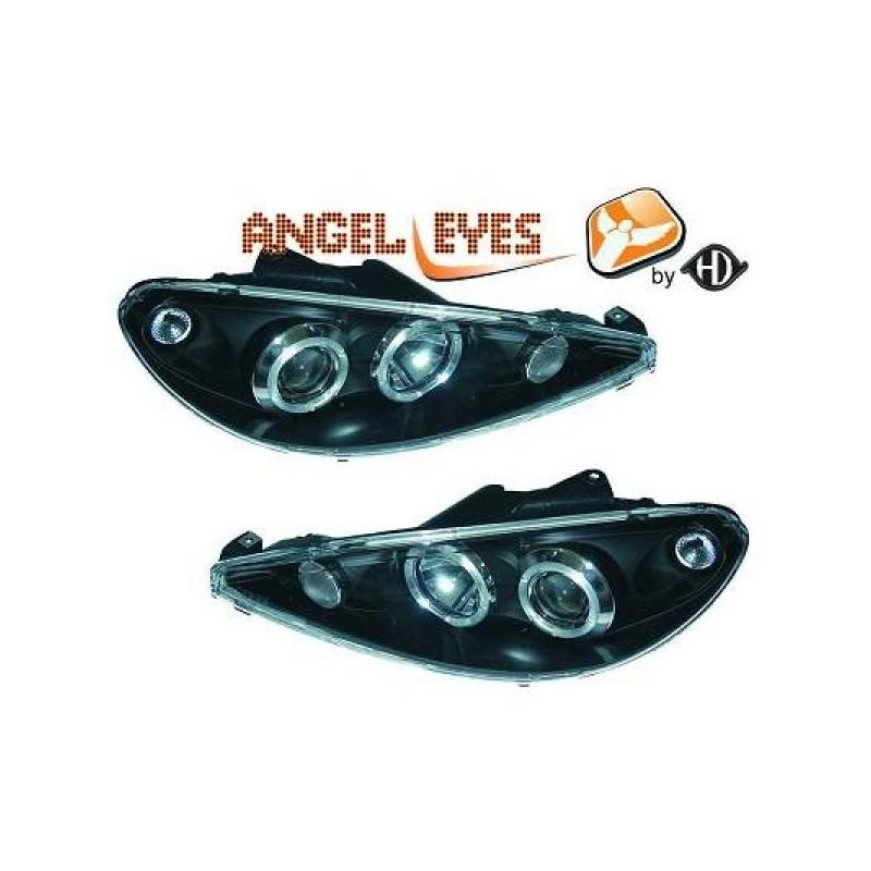 Phares angel eyes noir Peugeot 206 98-06