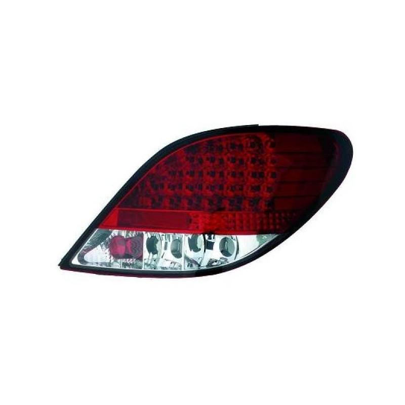 Feux arrières rouge/blanc LED Peugeot 207 06-12 sauf CC