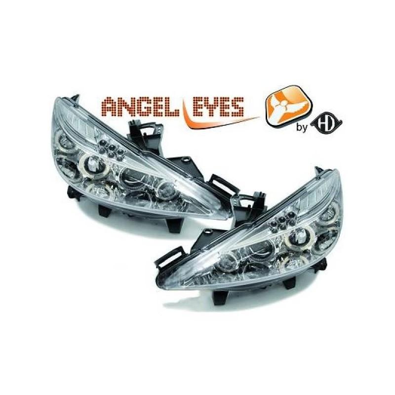 Phares angel eyes chrome Peugeot 207 06-12