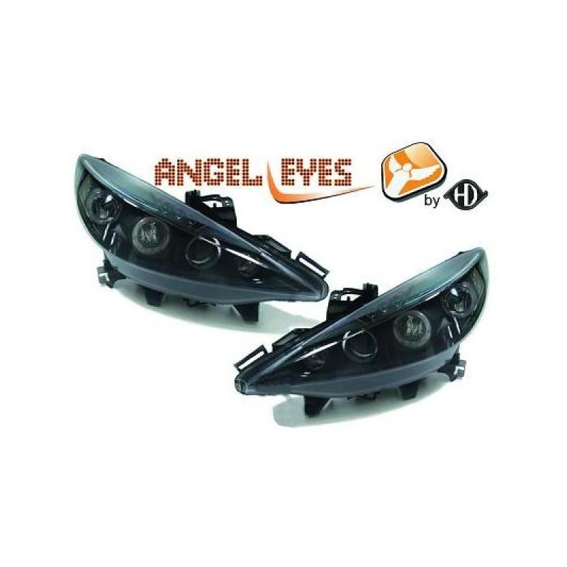 Phares angel eyes noir Peugeot 207 06-12