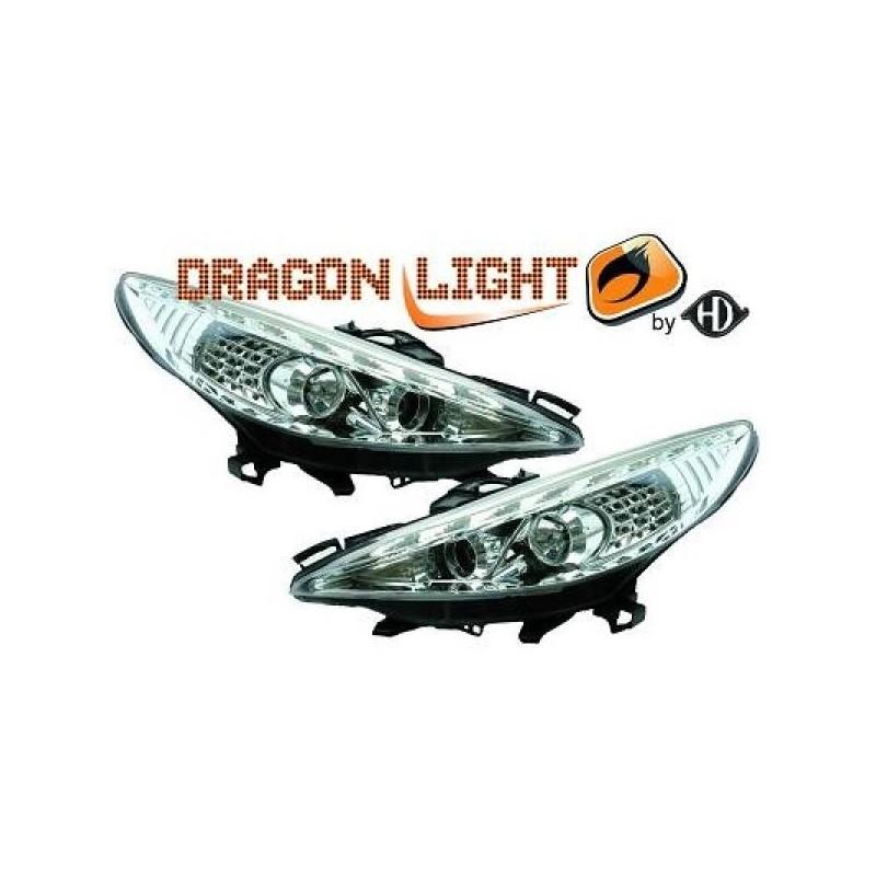 Phares Avant DEVIL EYES chrome clignotants à LED Peugeot 207 06-12