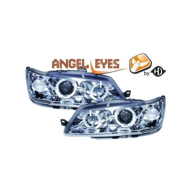 Phares angel eyes chrome . Peugeot 306 93-97