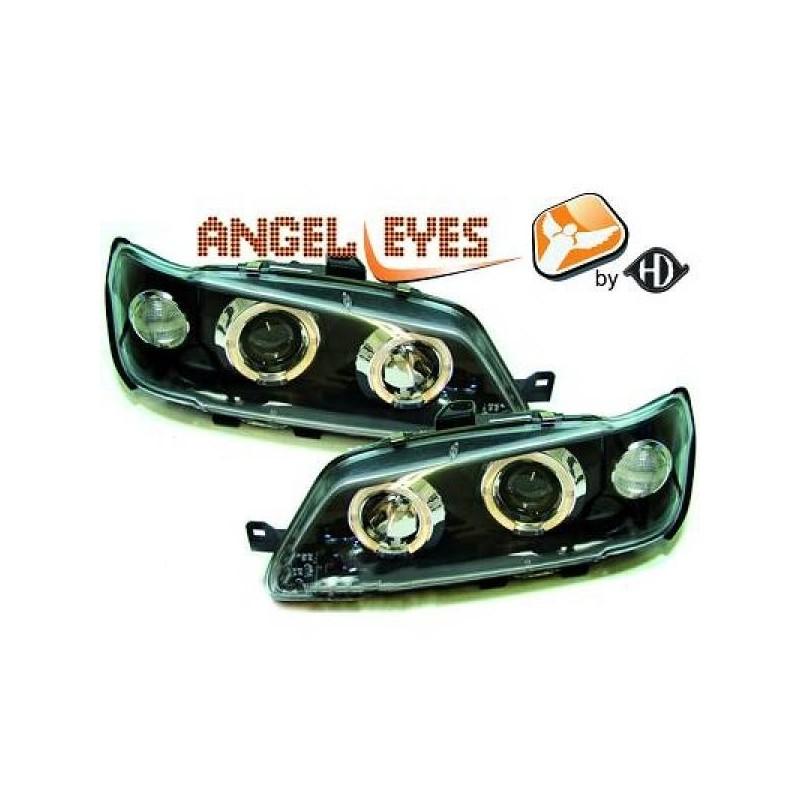 Phares angel eyes noir . Peugeot 306 93-97