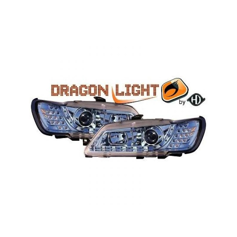 Phares Avant DEVIL EYES chrome clignotants à LED Peugeot 306 93-97