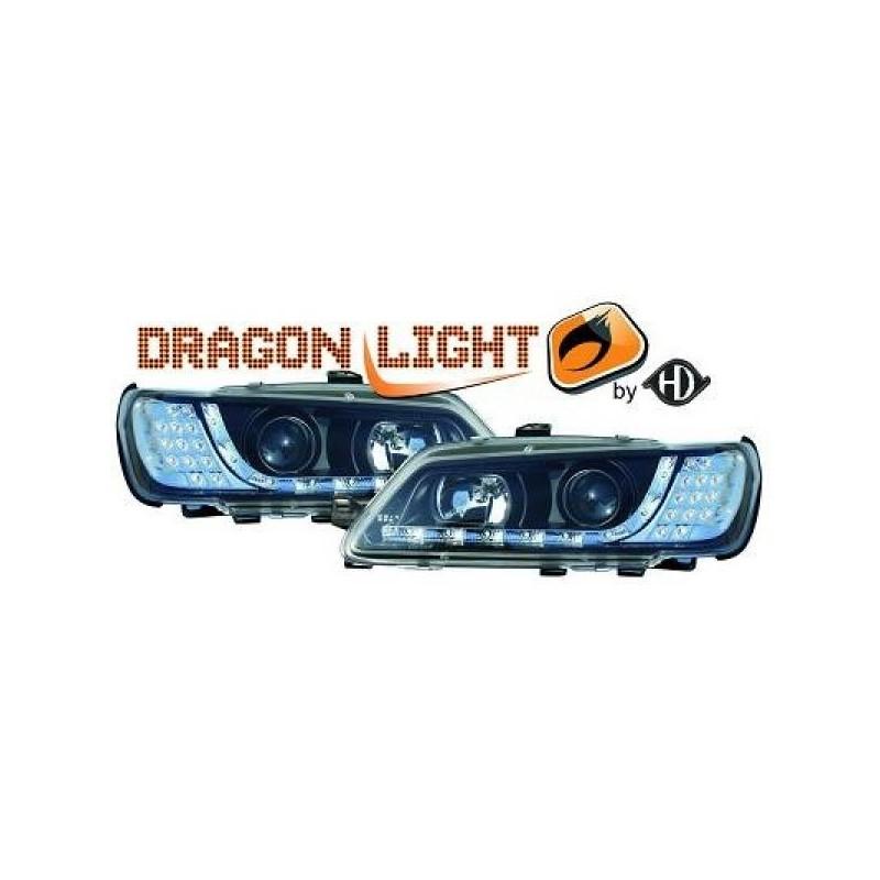 Phares Avant DEVIL EYES noir clignotants LED Peugeot 306 93-97