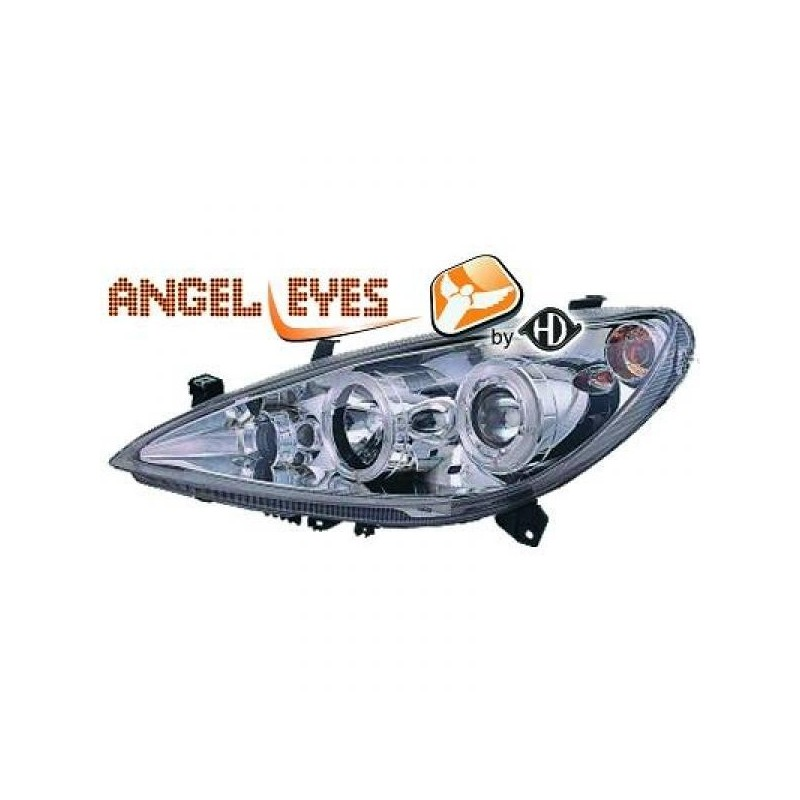 Phares angel eyes chrome Peugeot 307 01-05