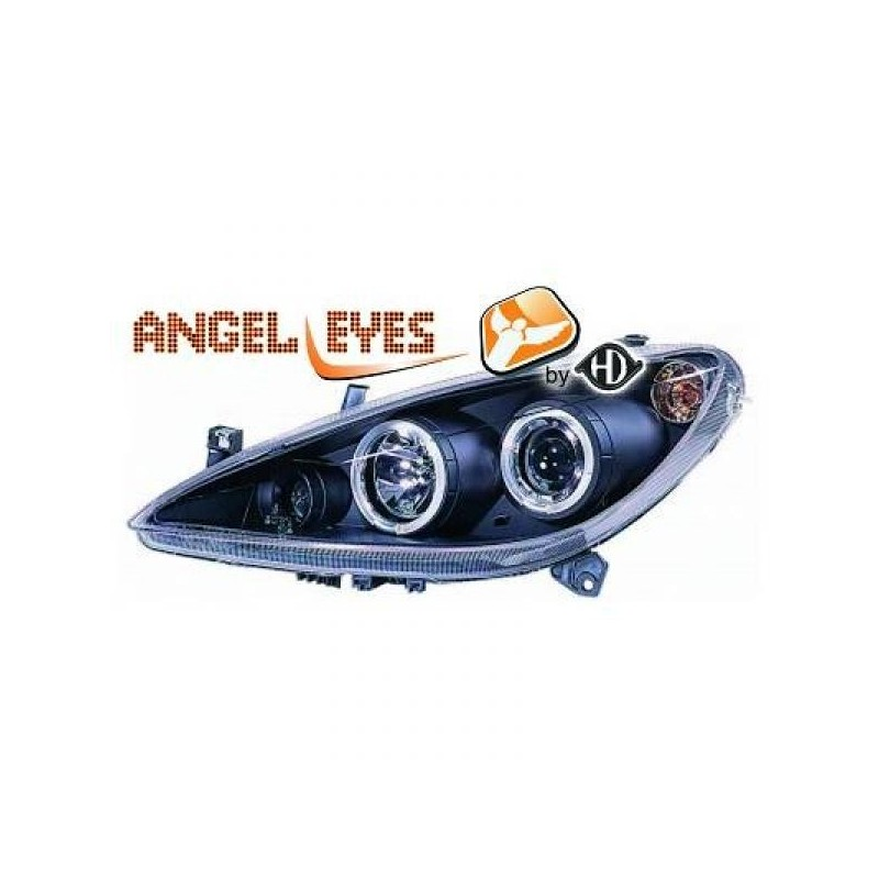 Phares angel eyes noir Peugeot 307 01-05