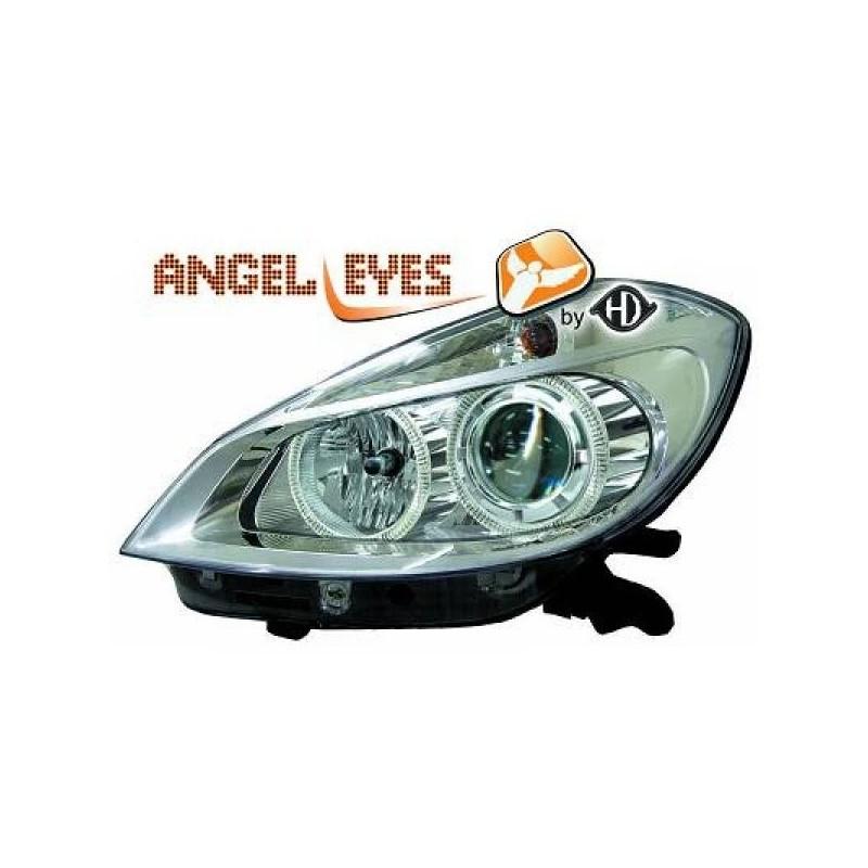 Phares angel eyes chrome Renault CLIO apres 2005