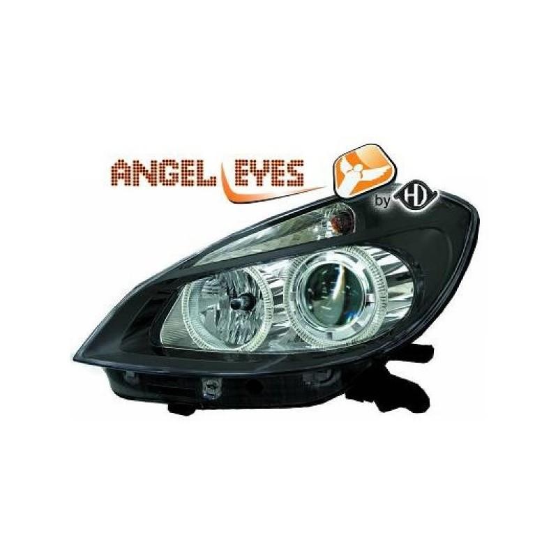 Phares angel eyes noir Renault CLIO apres 2005