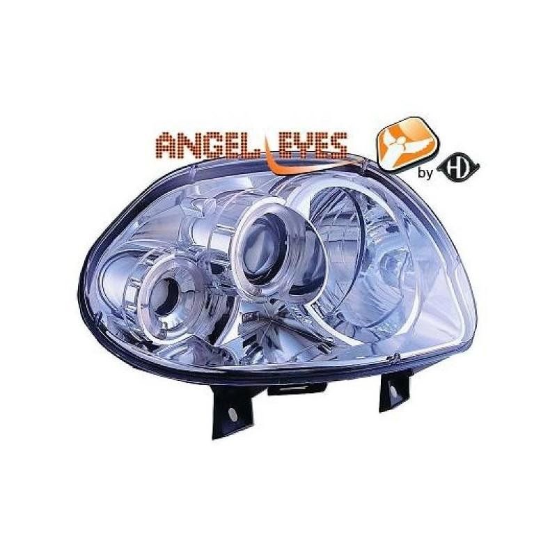 Phares angel eyes chrome Renault CLIO 98-01