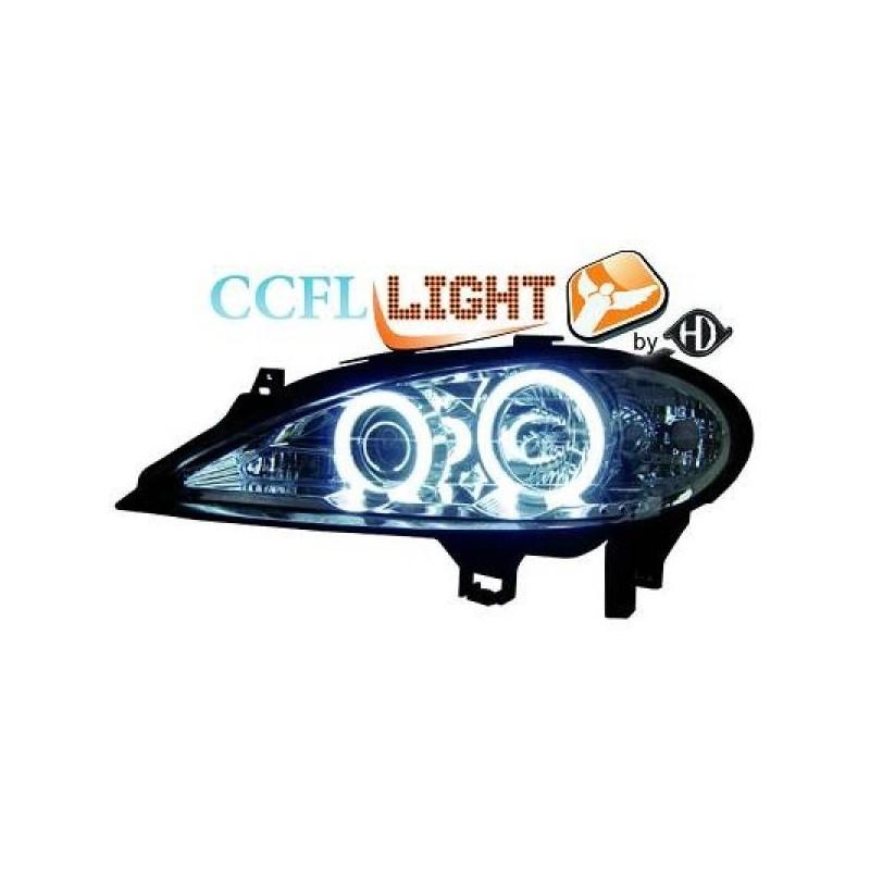 Phares angel eyes CCFL chrome Renault MEGANE 99-02