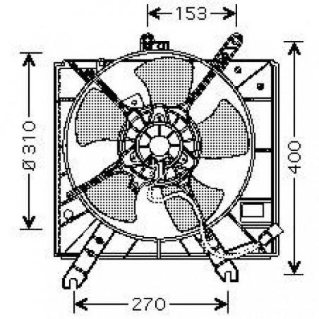 Motoventilateur suppl. complet KIA RIO 2000 à 2005 250mm