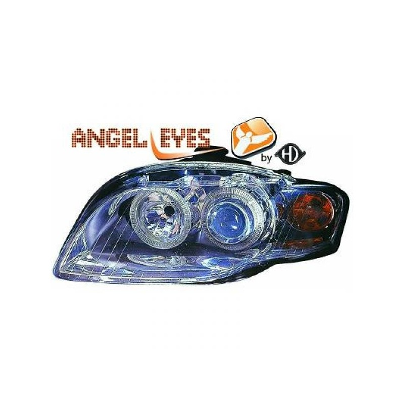 Phares angel eyes chrome Audi A4 04-07