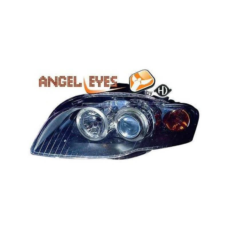 Phares angel eyes noir Audi A4 04-07