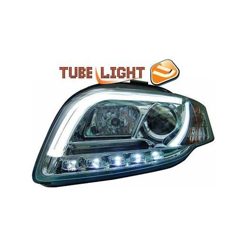 Phares avant à tube LED Verre Fumée/chrome AUDI A4 04-07