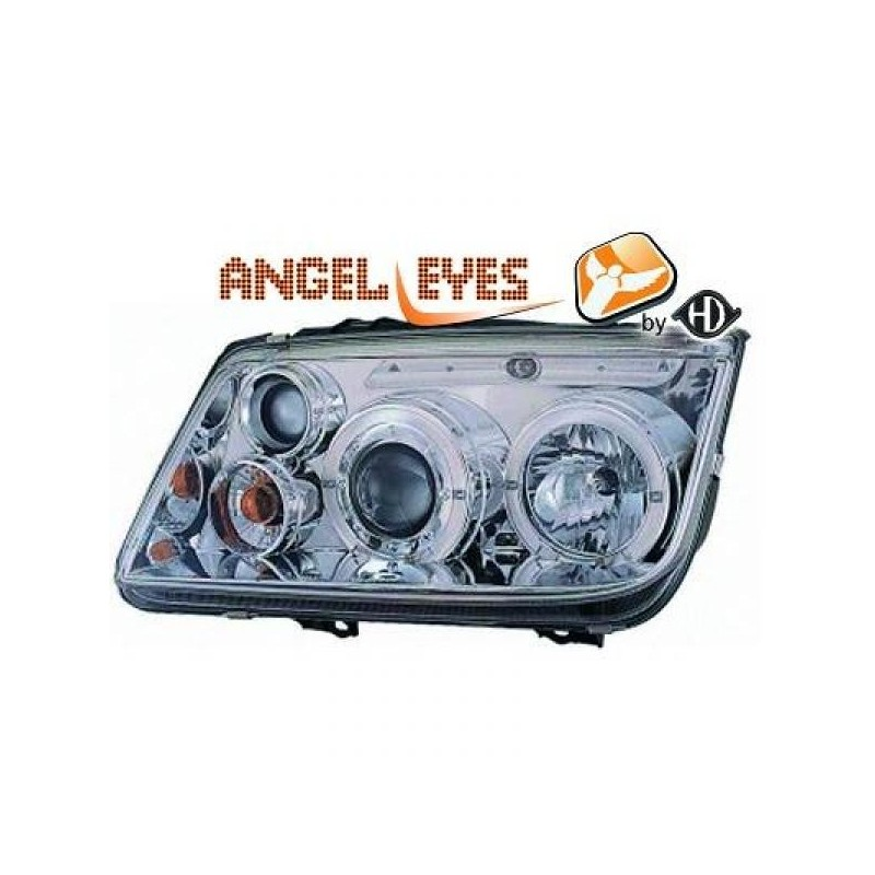 Phares angel eyes chrome Vw BORA 98-05