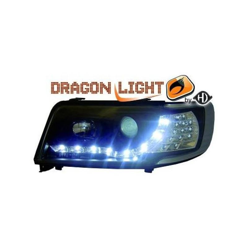 Phares Avant DEVIL EYES noir Audi 100 90-94 Clignotant LED
