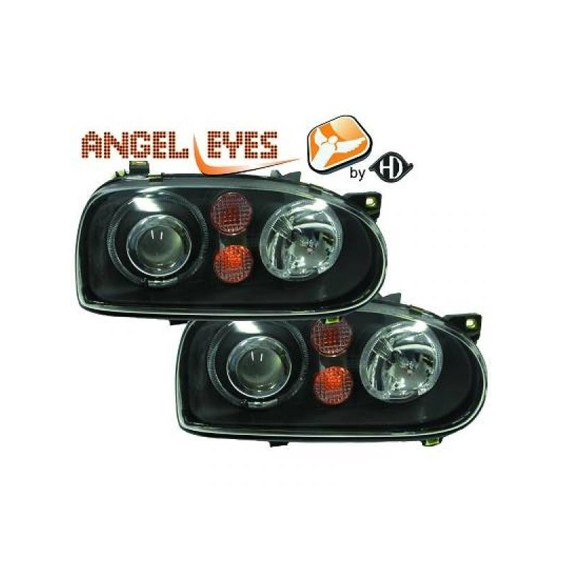 Phares angel eyes noir Look GOLF 4 pour GOLF 3 91-97