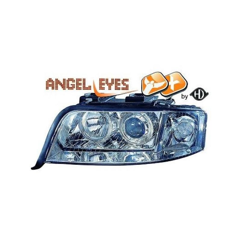 Phares angel eyes XENON chrome Audi A6 01-04