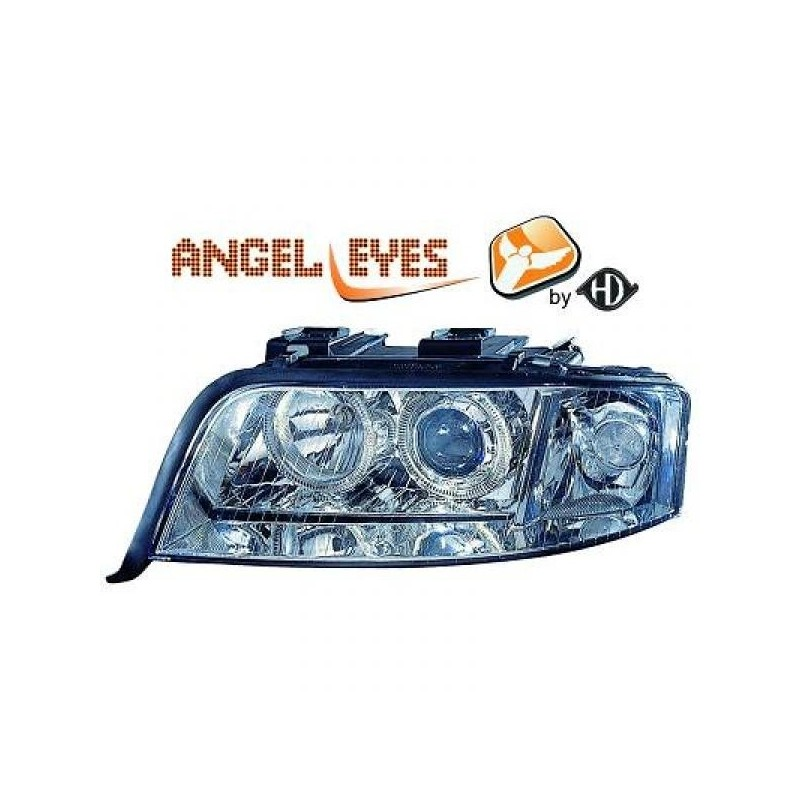 Phares angel eyes chrome Audi A6 01-04