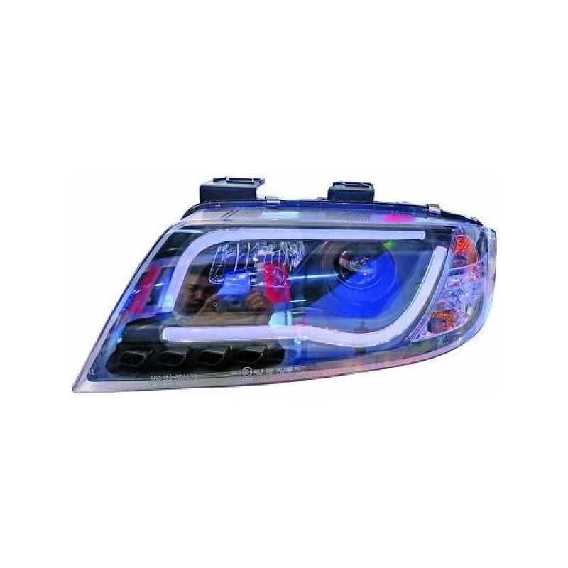 Phares avant à tube LED Noir AUDI A6 01-05