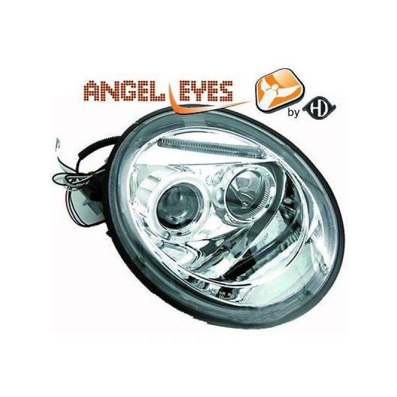 Phares angel eyes chrome Vw NEW BEETLE apres 1998