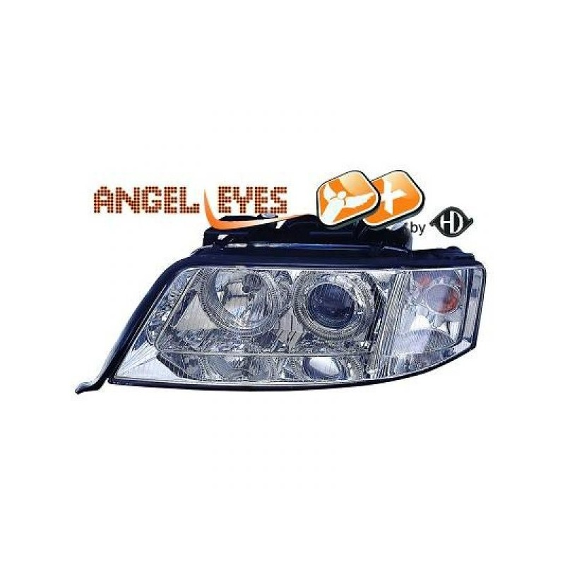 Phares angel eyes chrome Audi A6 97-01