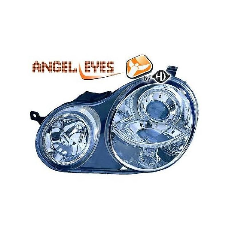 Phares angel eyes chrome Vw POLO 01-05