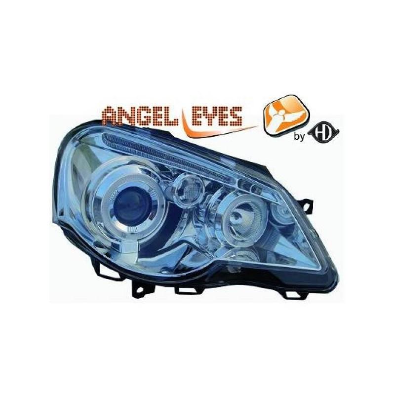 Phares angel eyes noir Vw POLO 01-05