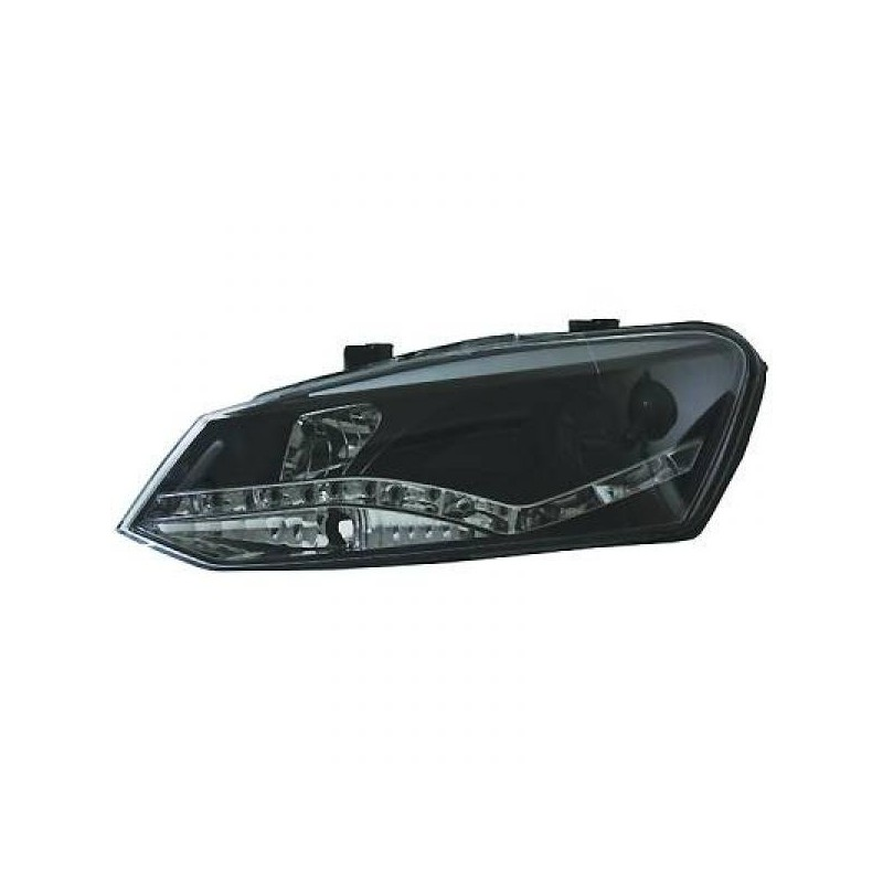 Phares DEVIL EYES Vw POLO apres 2010 noir optique TFL