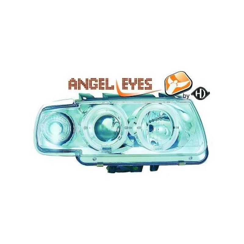 Phares angel eyes chrome . Vw POLO 94-99