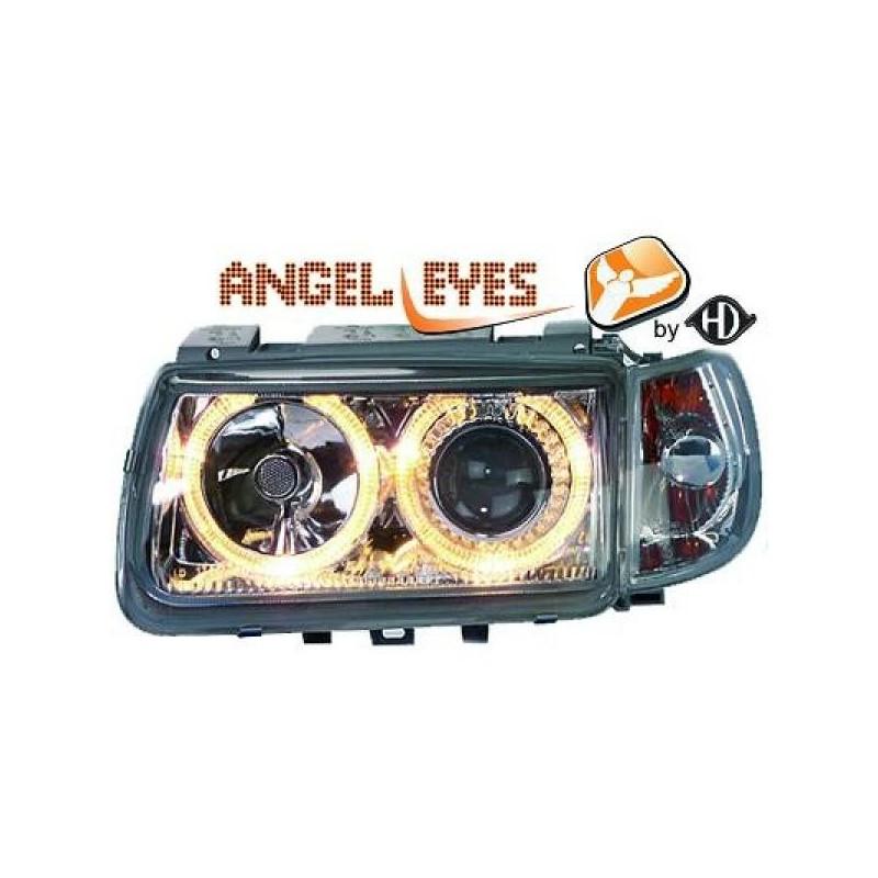 Phares angel eyes chrome Vw POLO 95-98