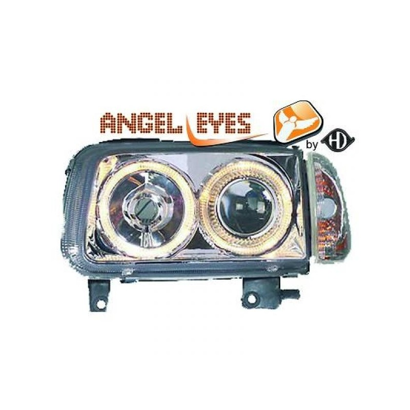 Phares angel eyes chrome Vw POLO 99-01