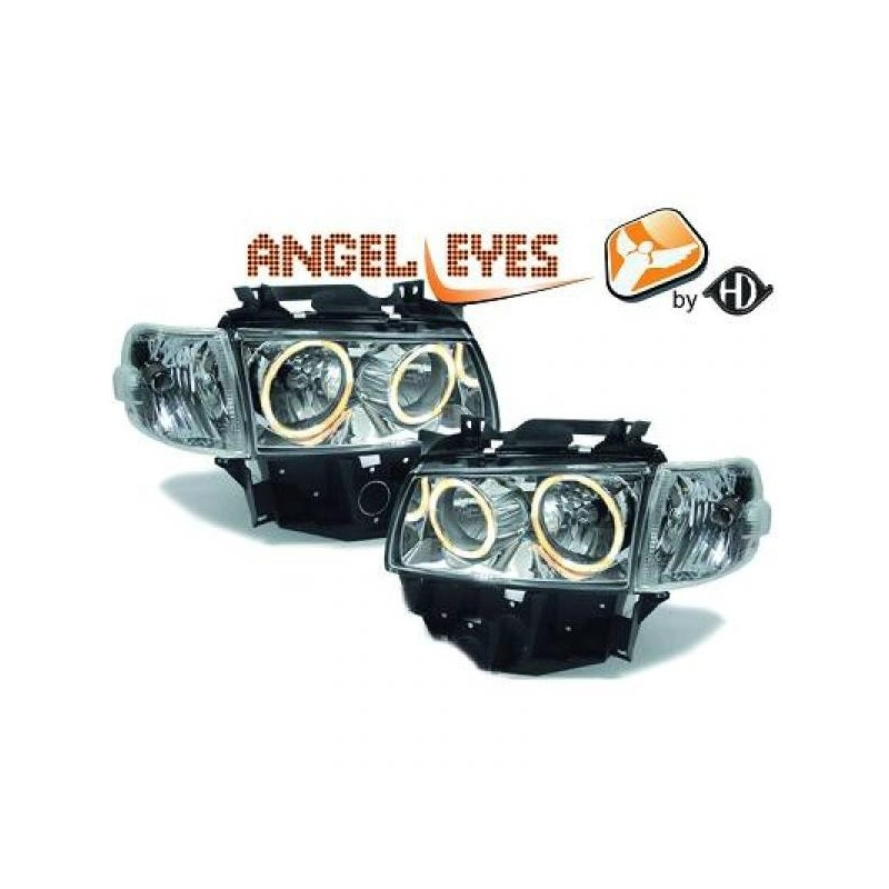 Phares angel eyes chrome Vw T4 97-03